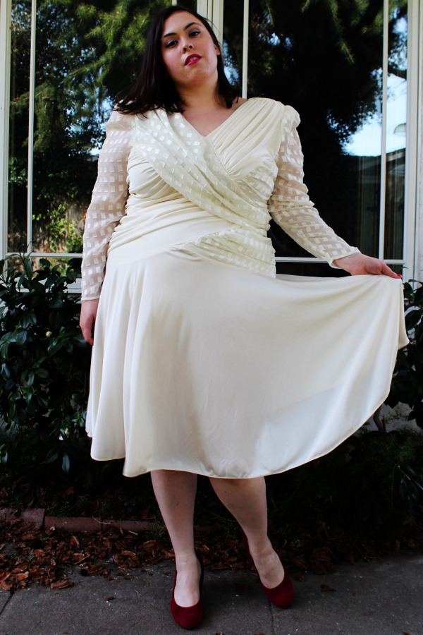 Plus Size Vintage Cream Drape Front Swing Skirt Dress (Size 16) - $50  <— New Shop Item!
