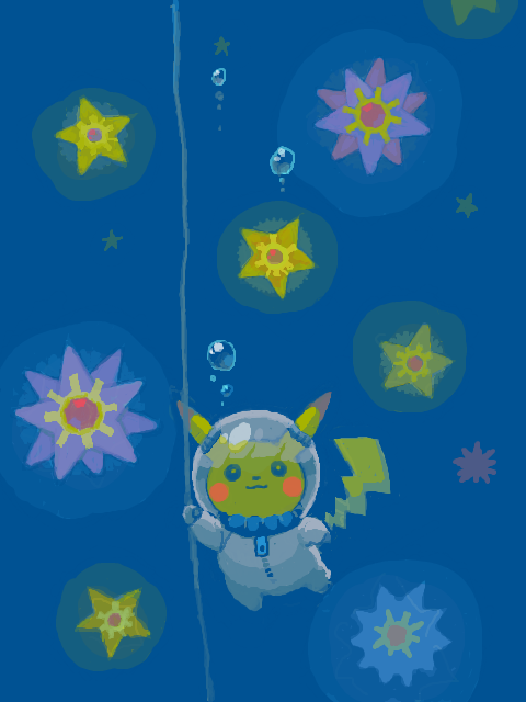 alternativepokemonart:  Artist A Pikachu swimming by request.