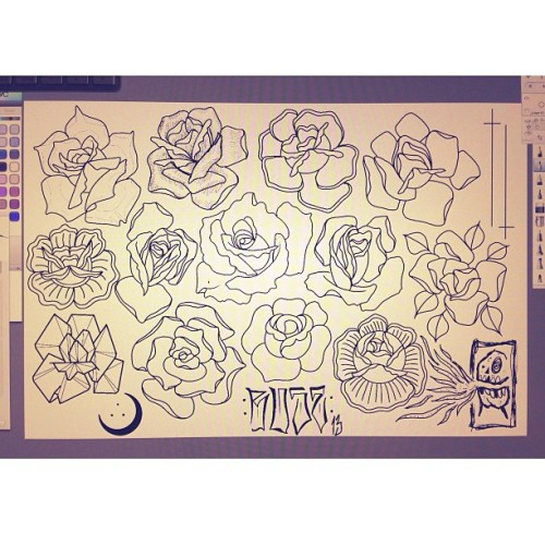 Drawing a rose for a Brenda next week annnnd got carried away. All up for grabs, bar the one she chooses.  #rose #rosesfordays #tattoo