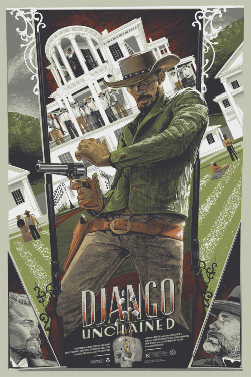 "iheartmyart:  Rich Kelly:   I was recently tasked with creating a Django Unchained poster for Mondo's annual Oscar-themed release event. The scheduling of this job put me in the position of having to create this image before the movie was even in theaters. Therefore, I essentially was left to pull from two distinct sources for the idea and visual reference. For the latter, I was basically limited to a couple of high-res trailers (which turned out to be more than enough.) The idea, however, came from reading the final draft of Tarantino's script (which somehow found it's way online.) This was the first time I had to create a poster before seeing the film, and I found the experience to actually be quite liberating. I wasn't a slave to screen shots and I was allowed to inject a little more of my own personality and thought process into the final product. I suppose that some of the more talented illustrators are able to do that anyway, but I often find myself struggling to get beyond the carefully chosen visuals selected for the audience by the cinematographer and director. After reading and processing the script I focused on two central ideas. One being that a shooter's speed can make all the difference between living to fight another day or taking a dirt nap. Therefore, I have Django frozen in that split second, right before he's about to fan his revolver and consequently vanquish his foes. The other facet that I wanted to represent was Dr. Schultz's German legend of Broomhilda and Siegfried. Instead of a mountain, I have the forlorn Broomhilda trapped in a castle-like plantation, the southern gothic pillars acting as bars imprisoning her in a cell. Standing in for the dragon are Candy's henchmen, guns loaded, awaiting the inevitable battle. These will be available for purchase on Friday, March 1, 2013 at 11:00 am EST.  Variant: Edition of 135. 24""x36"" screen print. Signed and numbered. Six colors on French Construction Steel Blue paper. $110. Regular: Edition of 290. 24""x36"" screen print. Signed and numbered. Six colors on French Speckletone Old Green paper. $85. The variant can be found here, and the regular here. (note: I do not have these prints in hand yet. Please allow 4-6 weeks for delivery.)    Dope!"