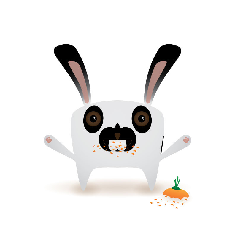 Ronin bunny, Illustrated.  Complete with a few sharp teeth.