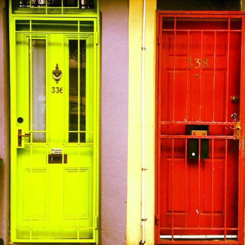 Redfern doors #instagram #instagood #city #sydney @cityofsydney #doors #innercity #eveleigh #yellow #red #australia  (at Eveleigh Market)