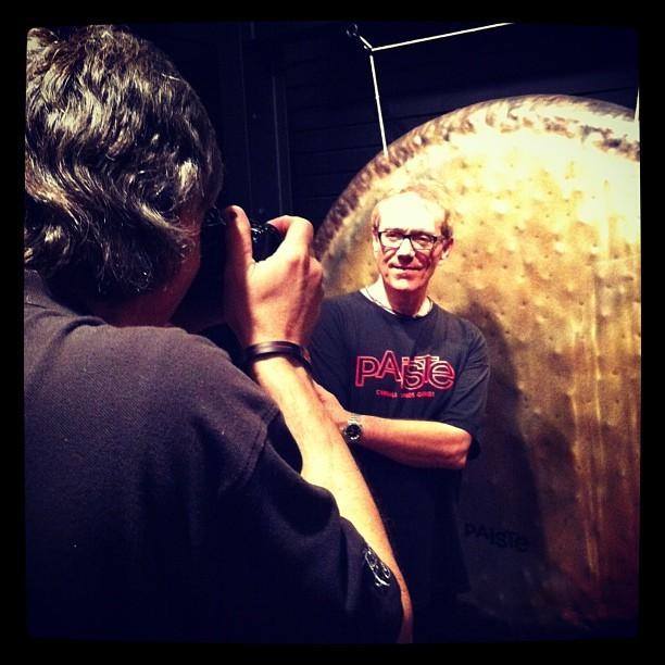 memphisdrumshop:  Jim Pettit (Owner MDS) photographing #vinniecolaiuta May 6, 2012 #memphisdrumshop #legend #paistecymbals #paistegongs #memphisgongchamber (at Memphis Drum Shop)