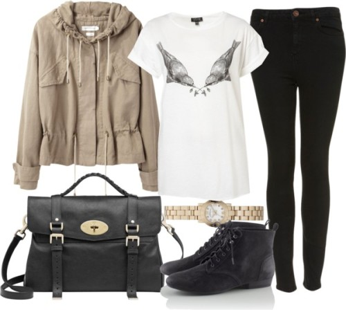 Untitled #1648 by ieleanorcalderstyle featuring yellow gold jewelry  Topshop graphic tee shirt / Etoile Isabel Marant etoile isabel marant jacket / Topshop highwaisted jeans / H&M , $30 / Mulberry  satchel / Marc by Marc Jacobs yellow gold jewelry, $280