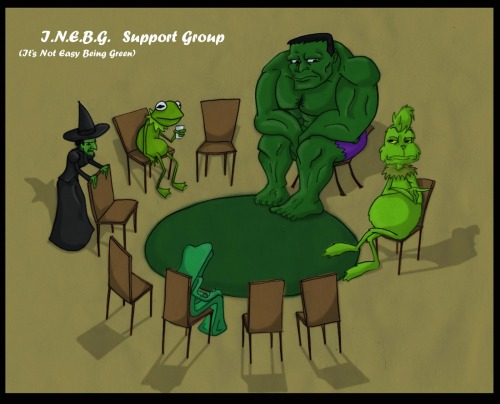 "theswordinthestoneheart:  The ""Its Not Easy Being Green"" Support group."