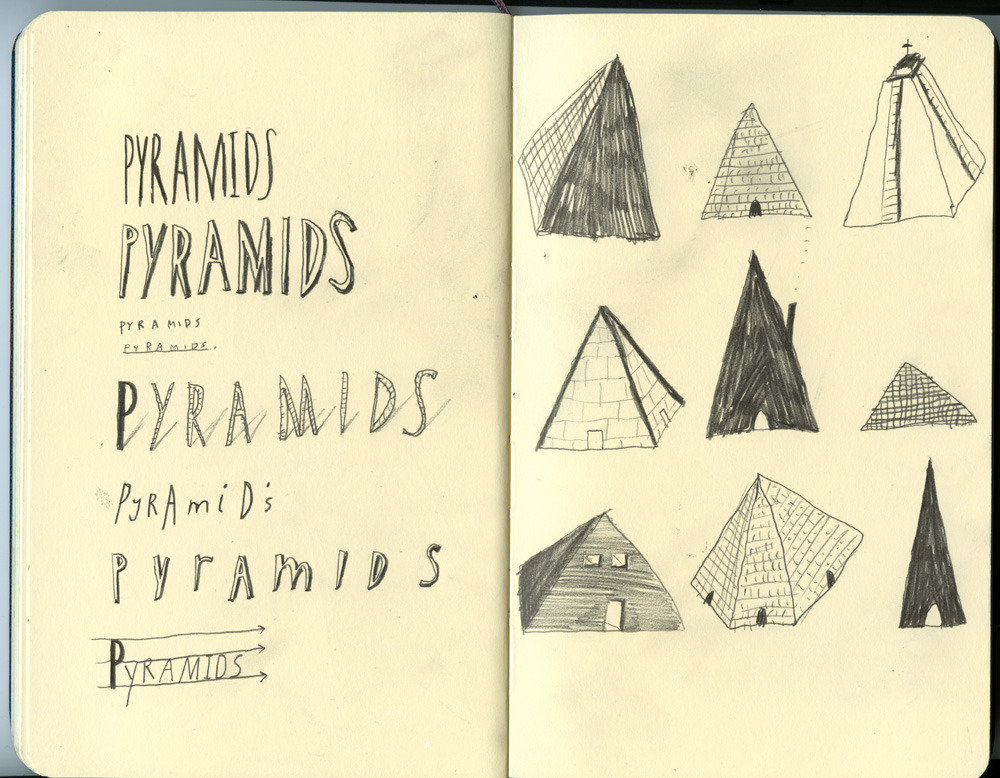 Sketchbook page. I've been drawing loads of pyramids and bulldozers recently after reading about the Mayan pyramid that got knocked down.