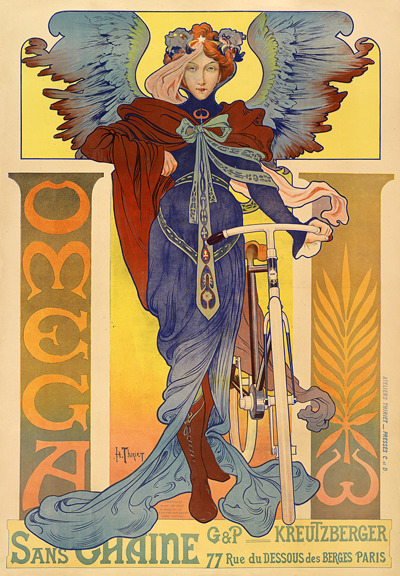 artnouveaustyle:  Poster for Omega Bicycles by Henri Thiriet, 1897.