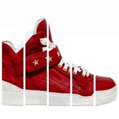 hautechicago:  Givenchy Star Studded Red Leather Sneakers.