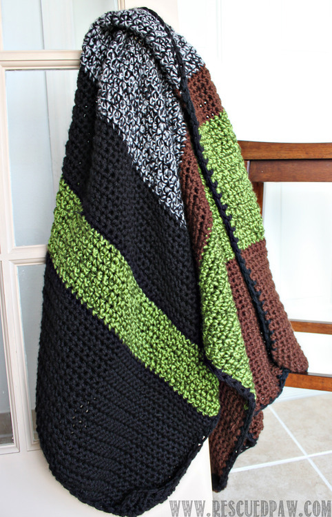 Striped Chunky Crochet Blanket MineCraft Inspired Chunky Crochet Blanket Pattern From Rescued Paw | Uses two strands of yarn at once!!