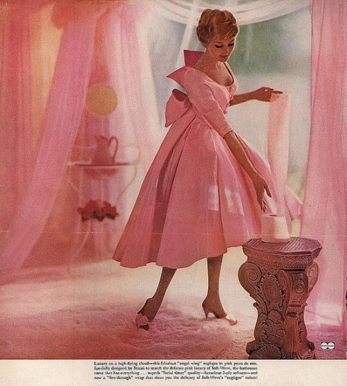 theniftyfifties:  Model wearing a taffeta gown, 1950s.