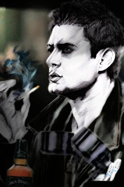 "Crutches by *Merisha""This first picture of Dean smoking , with his crutches, Jack Daniels, Vicodin and Actiq's ('cause he's in constant pain) is from the 'Drive Verse' - a collection of AU Supernatural fanfic stories written by the unbelievably talented 'roqueclasique' - I bow to her genius … ""  To read the story click HERE"