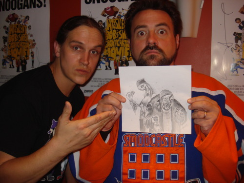Look who likes my art!! Kevin Smith and Jay Mewes - yup Jay n Silent Bob holding up one of my drawings!! The drawing was a commission for a friend of a 'zombie Jay and Silent Bob', and she got to meet them yesterday and she brought the pic and said Smith went nuts for it and loved it!!! Very, very cool. Smith also, at one point on Twitter, saw and 'favorited' a Tweet I Tweeted of the RED STATE painting I had made. That's 2 interactions. 3rd one will be us hanging out. Mark my words.  www.facebook.com/artbyleehoward