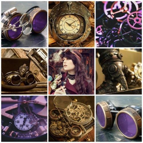 moodboard mood board aesthetic steampunk steampunk aesthetic purple purple aesthetic clocks goggles steam punk my work mine