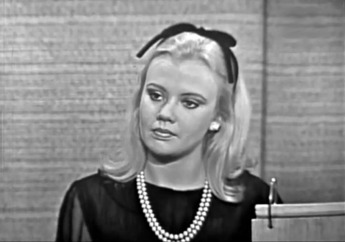 What's My Line? Hayley Mills (by Greenman 2008)  Hayley appeared on the programme 28 November 1965 promoting her Walt Disney film That Darn Cat.