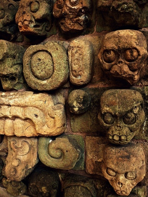 Ancient Mayan skull carvings from Copan, Honduras via Loominous Archaeology