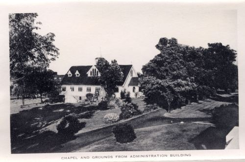 Chapel and Grounds from the Administration Building, circa 1949,  Long Island Hospital records, (Collection #8500.200) City of Boston Archives  This work is free of known copyright restrictions.  Please attribute to City of Boston Archives. For more images from this collection, click here
