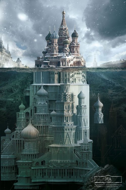 laughingsquid:  Russian Landmarks Imagined as Small Parts of Much Larger Buildings in Ad Campaign