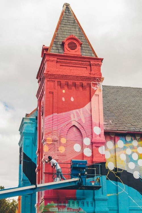wetheurban:   #ART: THE GRAFFITI COVERED CHURCH BY HENSE An artist that goes by the name of Hense decided to give an old church in Washington DC a makeover, you know, to liven it up a little bit. The result reveals a mosaic of bright colors, spots, stripes and everything pleasant that beautifully breathes new life into the structure.  Read More