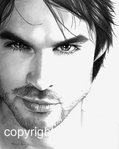 Amazing art on Etsy of Ian Somerhalder, Vampire Diaries