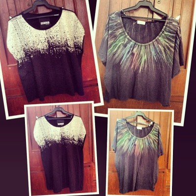 Bought these two tops from a thrift shop and make cropped tees! 👚😊