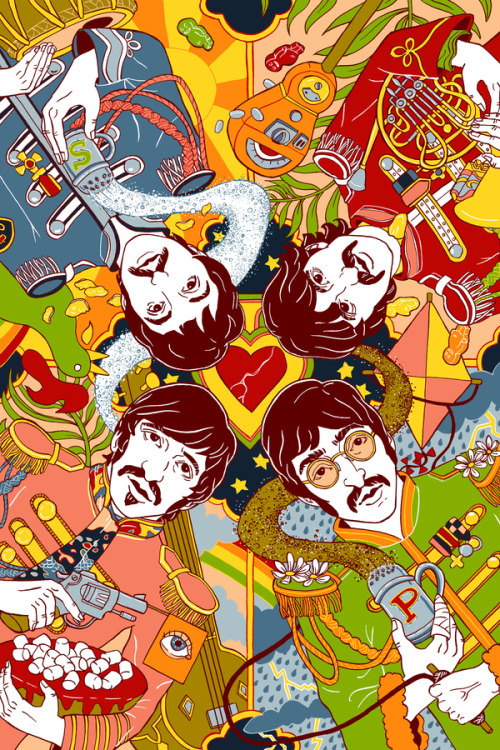 just-art:   Sgt. Pepper's Lonely Hearts Club Band by Julia Minamata    Trippy