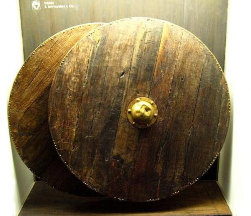 Wooden shields preserved in Thorsberg moor, Germany, ca. 3rd century A.D. Photo by Bullenwächter, via @irarchaeology on Twitter