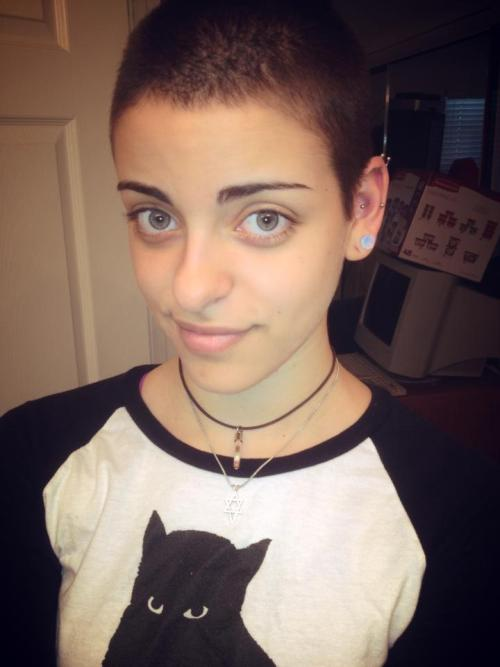 My name is Brooke :3I shaved my head four St.Baldricks, a non-profit foundation that raises money for childhood cancer research. The foundation funds more grants for childhood cancer research than any organization except the U.S. government. I raised $236 and shaved my head in honor of late grandfather, who lost his battle to cancer :3