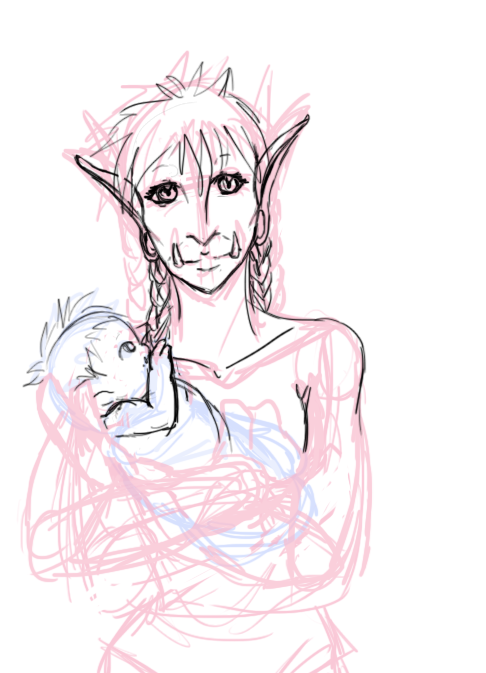 ((WIP of a commission for kho-kho-pebbles, of her Bloodscalp Khorle, and her babbu Ayo'tunde. :>))