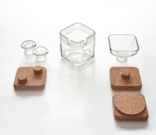 Upcycled glass and cork desk accessories by Lucia Bruni, via designboom