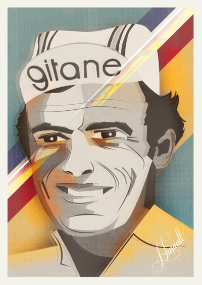 cadenced:  Bernard Hinault portrait produced by Neil Stevens. One of a series produced for Cycling Plus' Tour de France Centenary edition.