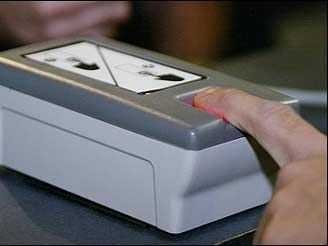 joshbyard:  South Dakota Students Testing Fingerprint-Based Payment System  More than 50 students and faculty members at the School of Mines and Technology in South Dakota are part of that pilot programme which uses biocryptology – biometrics and cryptology combined – to allow them to buy items at campus shops. Users must first set up an account in person, bringing with them identification, banking information and their index fingers. To buy an item, students enter their birthday, as an extra identification step, and then put their index finger into scanner, which encrypts the fingerprint and sends the data over the intranet to a secure system that checks it against their records. The scan goes beneath the top layers of skin to detect haemoglobin in the blood, meaning a pulse must be detected before the purchase is allowed.  (via South Dakota School First To Buy Things With Fingerprints - Business Insider)