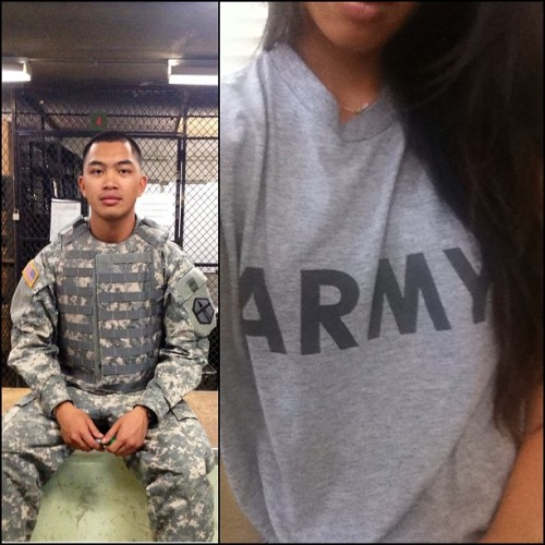karencrespo:  yamalams:  I actually feel like a soldier today #notags  <333 love wearing his shirt (: