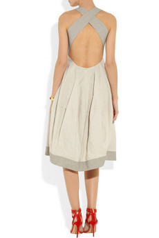 DONNA KARAN Paper taffeta and stretch-jersey dress