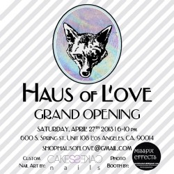 T O N I G H T    stop by @shophausoflove for their Grand Opening Celebration ! ! ! !  tons of new #GRAYbyNikko pieces and so many incredible pieces by #LA's finest underground designers!  (at Haus of Love)