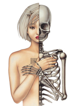 red-lipstick:  Trevor Brown - Skeleton Girl from Medical Fun series, 1998