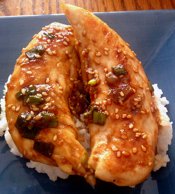 Korean BBQ-inspired Chicken Tenderloins Soy, Sesame Oil, Brown Sugar, Rice Wine Vinegar, Fresh Ginger, Siracha, Sesame Seeds, Green Onion