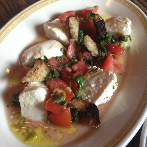 House made mozzarella, tomatoes, basil and grilled bread. Olive oil too. @speedyromeo #FoodPorn