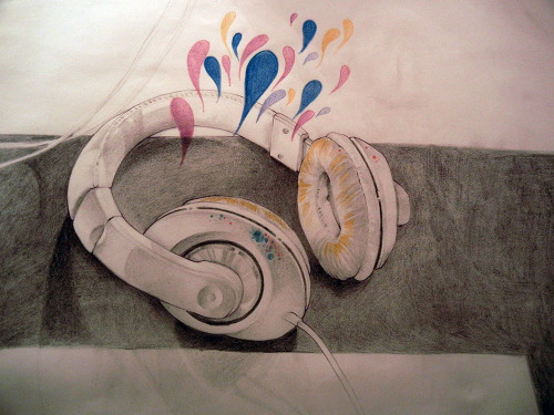 New headphones. Pencil crayon.