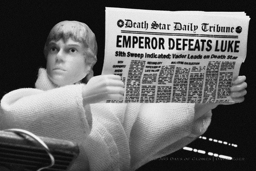 "49/52 | Emperor Defeats Luke on Flickr. 52 Weeks of Star Wars  is a weekly photo project starring various characters from the Star Wars franchise. This photo project is a continuation of sorts to my original series; 365 Days of Clones, specially my Cloned Photos mini-series. Today marks the Forty Ninth creation in this year long adventure. As the title suggests; 52 Weeks of Star Wars, one new photo will be taken, edited and added to the running total every Sunday. The twist is that all the images will be a recreation of sorts of a previous image. Some; like today, will be a recreation from a famous image of the 20th century, while others will be movie posters or album covers. There may even be the odd recreation of a painting! ""Emperor Defeats Luke"" is my recreation of one of the infamous Dewey Defeats Truman photos depicting incumbent United States President Harry Truman holding the incorrect headline on the front page of the first edition of the Chicago Tribune on November 3, 1948.  Some of you may be wondering why I chose to create a Cloned Photo base upon this photographic image. Arguably; Dewey Defeats Truman, is the most famous headline in the 150 year history of the Chicago Tribune. It is also likely the most embarrassing moment in the paper's history. It was thought that Governor Thomas Dewey of New York would win the Presidential race and win the election. Similarly, the Emperor was sure that he would be able to defeat Luke and bring him to the Dark Side. As it turns out, he didn't account for Darth Vader turning on him and helping Luke defeat the Sith Lord. Perhaps this photo is a stretch… but aren't they all? I do, however, really like how it turned out! Enjoy!  Subscribe to 52 Weeks of Star Wars RSS 