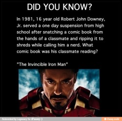 downeyandco:  Now he IS Iron Man What a nerd…
