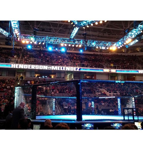 Our view from this past Saturday's UFC event… One of the best night of fights from the UFC in a while #mma #ufc #octagon #cageside #ringside