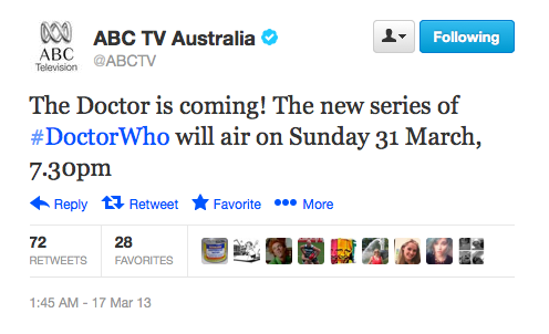 For those of us in Australia: Doctor Who Series 7.2 returns to ABC TV, Sunday March 31 at 7.30pm