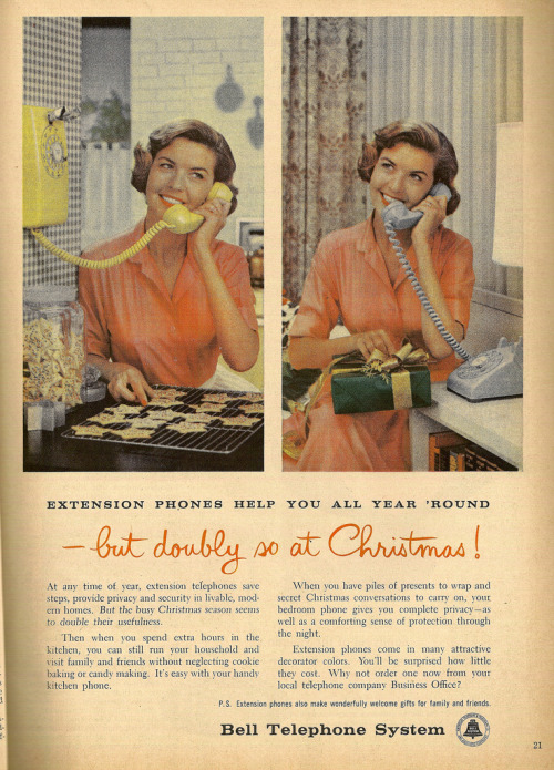 "~ Parents Magazine, December 1956via Flickr""Then when you spend extra hours in the kitchen, you can still run your household and visit family and friends without neglecting cookie baking or candy making."""