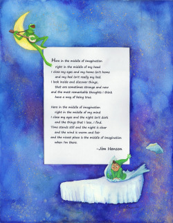 middle of imagination  Watercolor frame with a song from sesame street done for a family friend.  I think I may have gotten a little carried away with the gold and silver gouache stardust though…