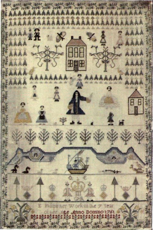"Sampler by E. Philips (1761) from the book """"Samplers and Tapestry Embroideries"" by Marcus Bourne Huish (The Project Gutenberg)"
