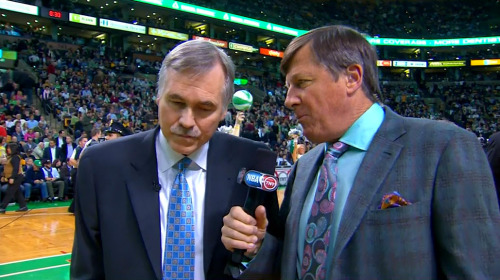 2/7/2013 - Lakers @ Celtics Craig Sager 2nd quarter Coach's Corner interview w/Lakers coach, Mike D'Antoni