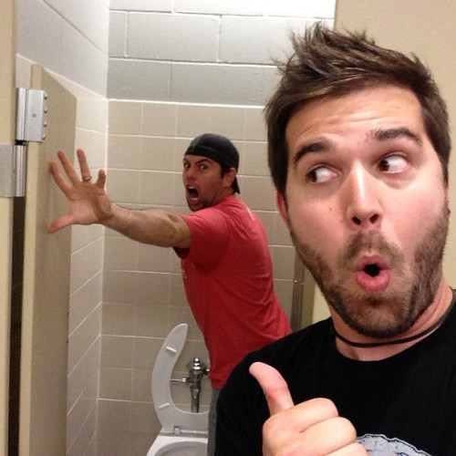 trippyism:  I keep bothering @shaycarl while he pees. So what!!? Haha by charlestrippy