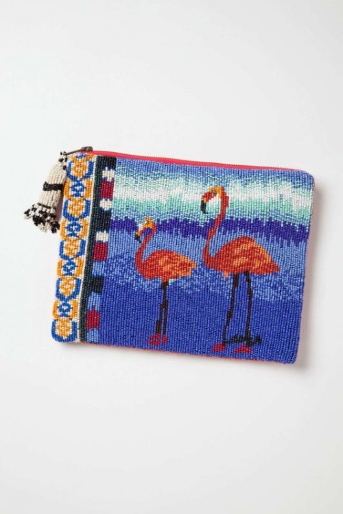 obsessed with this beaded flamingo clutch (Jasper & Jeera, available at Anthropologie)