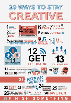 leedukes:  visualgraphic:  29 Ways to Stay Creative  I need to do all of these things.