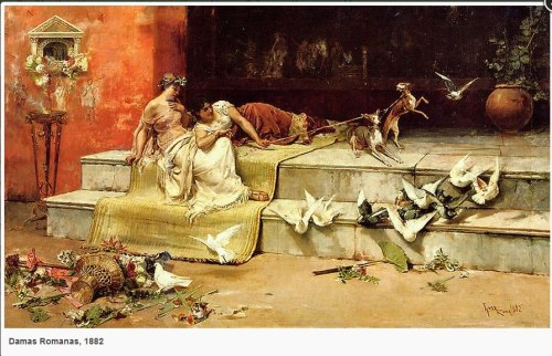 DAMAS ROMANAS, 1882. (Juan Luna) The altar to the left is called Lararium which is found in most houses where the Romans make their offerings to the gods and their ancestor spirits. The dogs are attendants to the virgin goddess Diana, while the doves are sacred to Venus. One can say that the two Damas represent the two goddesses. - Eric Agoncillo Ambata